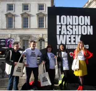 Activists at London Fashion Week, 2013